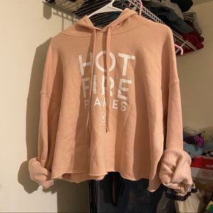 Whitney Simmons Hot Fire Flames Cropped Hoodie